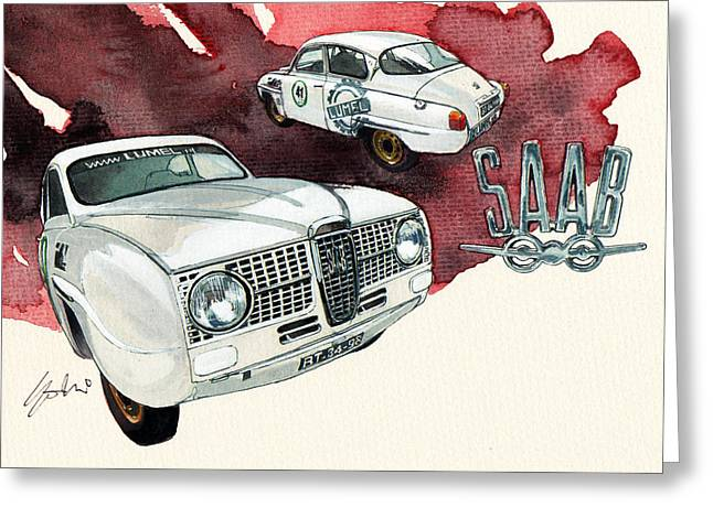 1960 Paintings Greeting Cards - Saab 96 Greeting Card by Yoshiharu Miyakawa