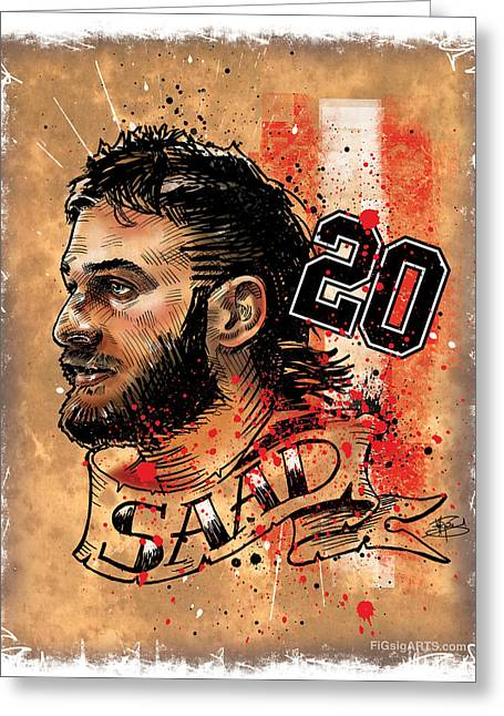 Sportsart Greeting Cards - Saad20 Greeting Card by Michael Figueroa