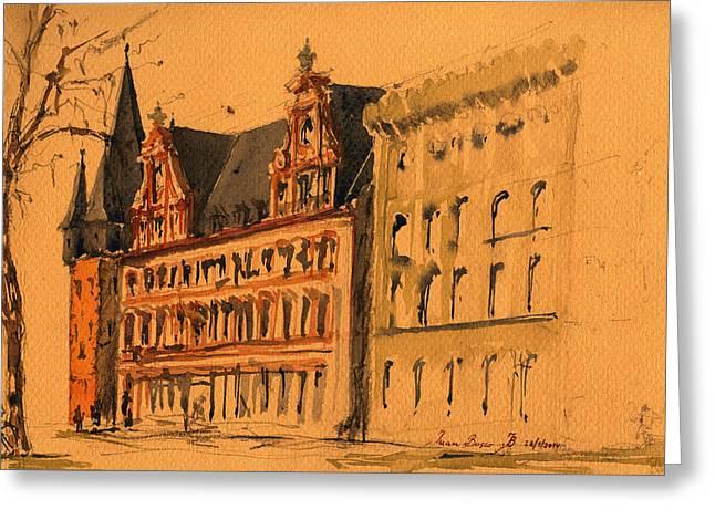 Sketch Drawing Greeting Cards - Saalhof and the Rententurm Frankfurt am Main Greeting Card by Juan  Bosco
