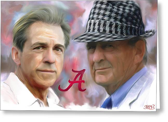 University Of Alabama Greeting Cards - Saban and Bear Greeting Card by Mark Spears