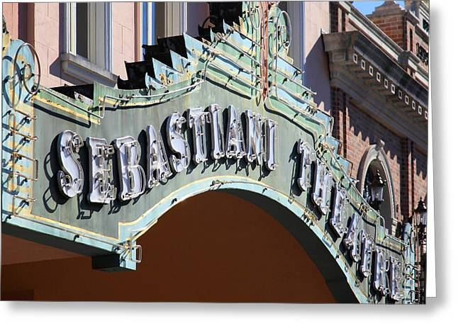 Sonoma Greeting Cards - Sabastiani Theatre Downtown Sonoma California 5D19288 square Greeting Card by Wingsdomain Art and Photography
