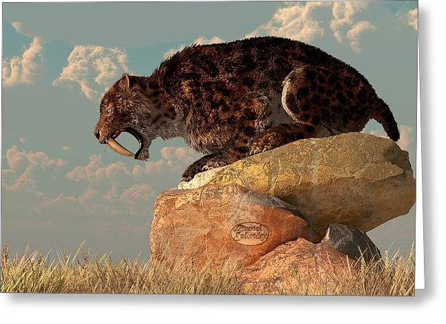 Growling Greeting Cards - Saber-Tooth on a Rock Greeting Card by Daniel Eskridge