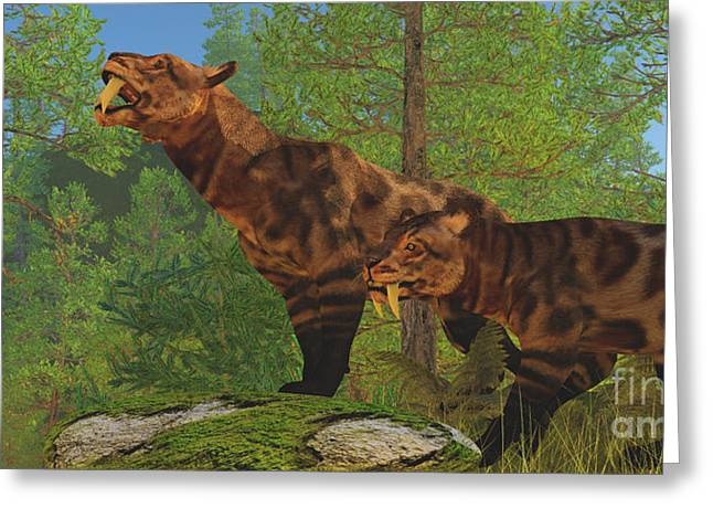 Saber Greeting Cards - Saber-Toothed Cat Forest Greeting Card by Corey Ford