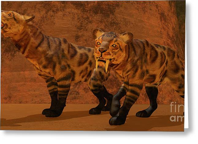 Saber Greeting Cards - Saber-Toothed Tiger Cave Greeting Card by Corey Ford