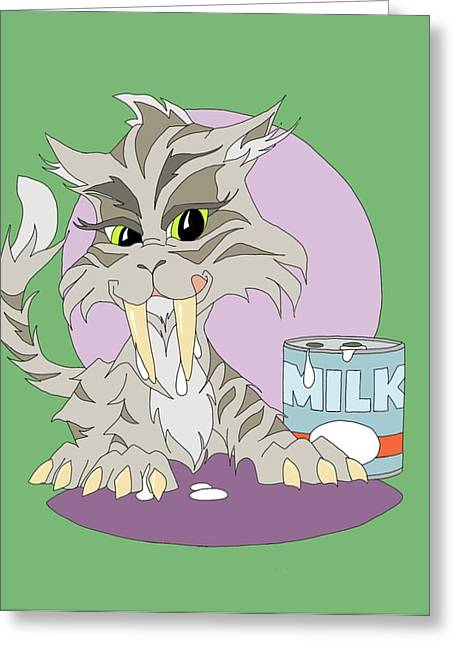 Milk Teeth Greeting Cards - Sabertooth Kitten Greeting Card by Tammy Long