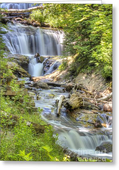 Superior Sunrise Greeting Cards - Sable Falls in Summer Greeting Card by Twenty Two North Photography