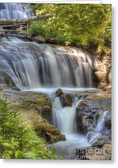 Superior Sunrise Greeting Cards - Sable Falls Greeting Card by Twenty Two North Photography