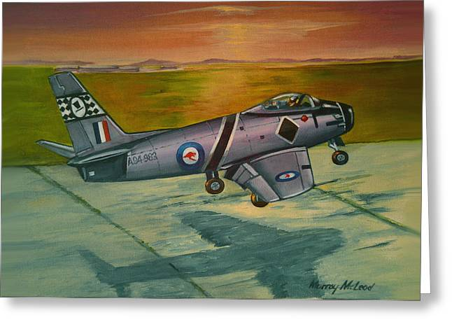 Murray Mcleod Paintings Greeting Cards - Sabre at Sunset Greeting Card by Murray McLeod