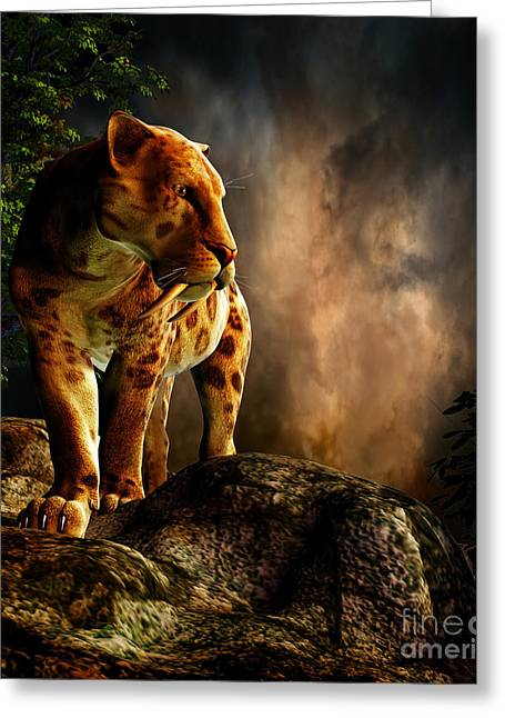 The Tiger Greeting Cards - Sabre-toothed Cat On The Prowl Greeting Card by Philip Brownlow