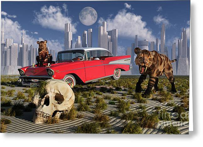 The Tiger Greeting Cards - Sabre-toothed Tigers Find A 1950s Greeting Card by Mark Stevenson