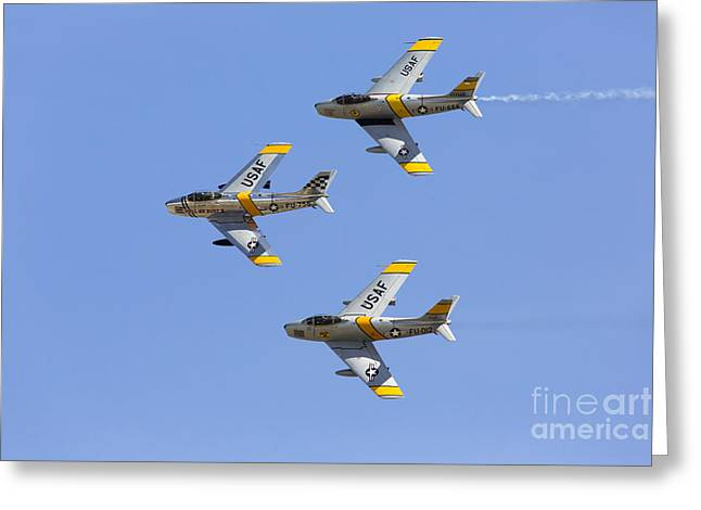 Planes Of Fame Greeting Cards - Sabres of the Horsemen Greeting Card by John Daly
