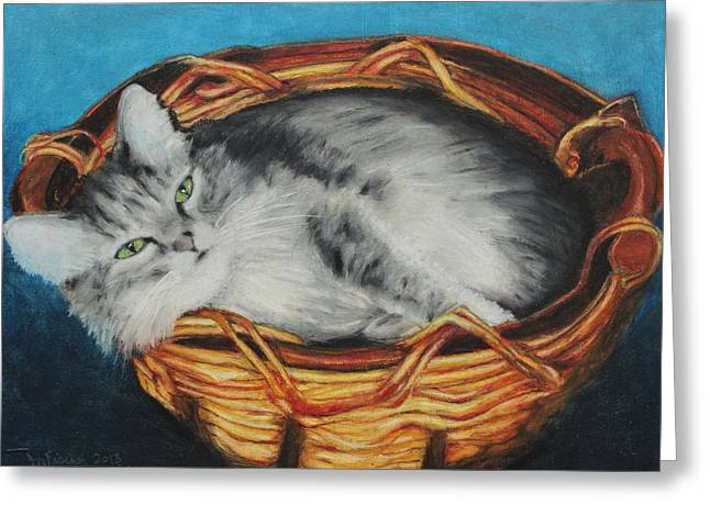 Cute Kitten Pastels Greeting Cards - Sabrina In Her Basket Greeting Card by Jeanne Fischer
