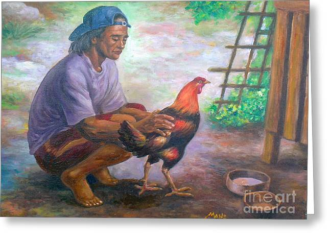 Manuel Cadag Greeting Cards - sabungerong jologs-repro from Amorsolo Greeting Card by Manuel Cadag