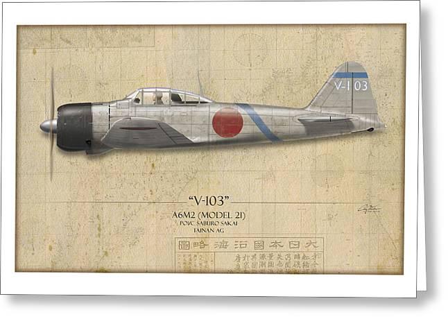 Aircraft Profiles Greeting Cards - Saburo Sakai A6M Zero - Map Background Greeting Card by Craig Tinder