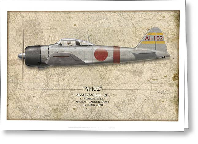 Ai Greeting Cards - Saburo Shindo A6M Zero - Map Background Greeting Card by Craig Tinder