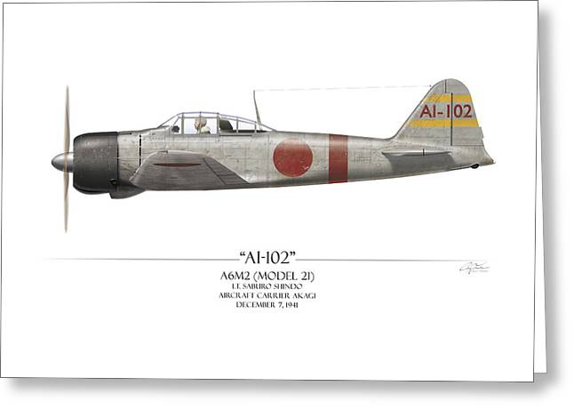 Ai Greeting Cards - Saburo Shindo A6M Zero - White Background Greeting Card by Craig Tinder