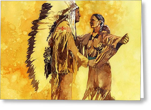 Native American Illustration Greeting Cards - Sacagawea Greeting her Brother Greeting Card by Matthew Frey