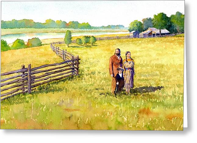 Frontier Greeting Cards - Sacagawea Her Husband and Son at their Farm Greeting Card by Rob Wood