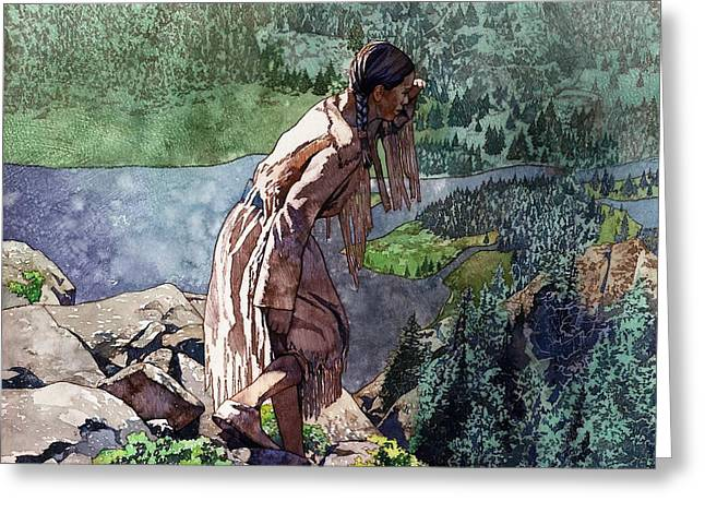 Exploring Paintings Greeting Cards - Sacagawea Looking Out Over the Landscape Greeting Card by Matthew Frey