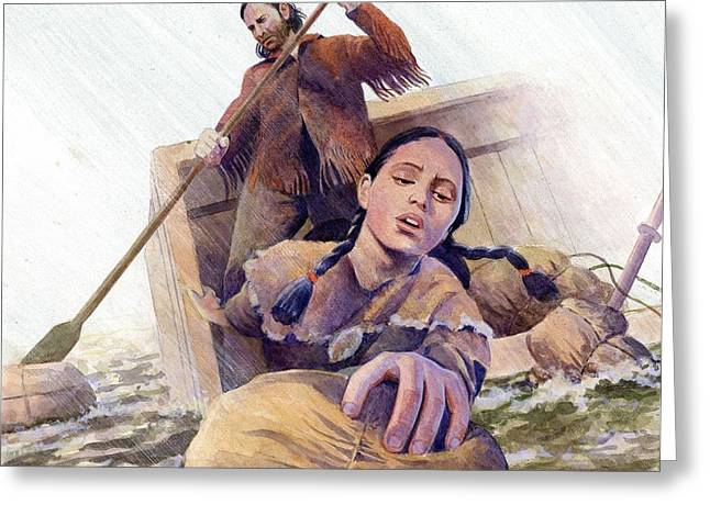 Native American Woman Greeting Cards - Sacagawea Saving Supplies Greeting Card by Rob Wood