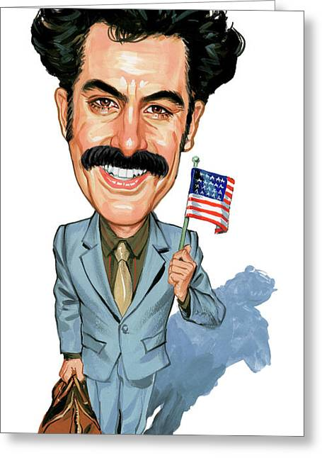 Journalist Greeting Cards - Sacha Baron Cohen as Borat Sagdiyev  Greeting Card by Art