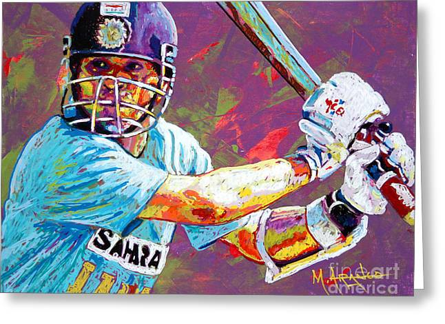 Cricket Paintings Greeting Cards - Sachin Tendulkar Greeting Card by Maria Arango
