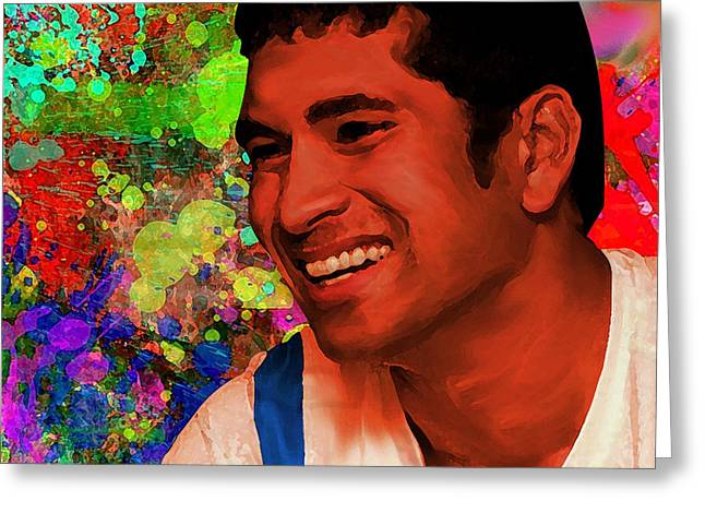 Cricketers Greeting Cards - Sachin Tendulkar Painting Greeting Card by Parvez Sayed