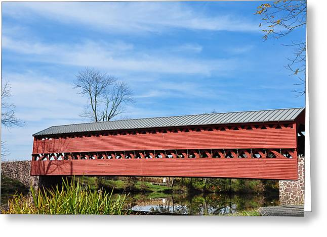 Covered Bridge Greeting Cards - Sachs Bridge Gettyburg Pa Greeting Card by Bill Cannon