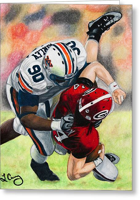 Georgia Bulldog Greeting Cards - Sack By Fairley Greeting Card by Lance Curry