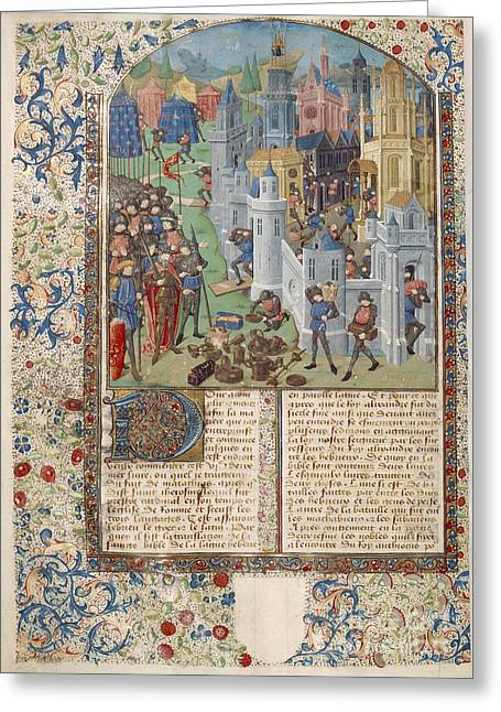 Written French Greeting Cards - Sack Of Jerusalem Greeting Card by British Library