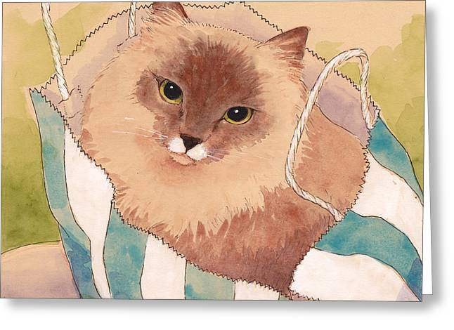 Ragdoll Greeting Cards - Sacked Kitty Greeting Card by Tracie Thompson