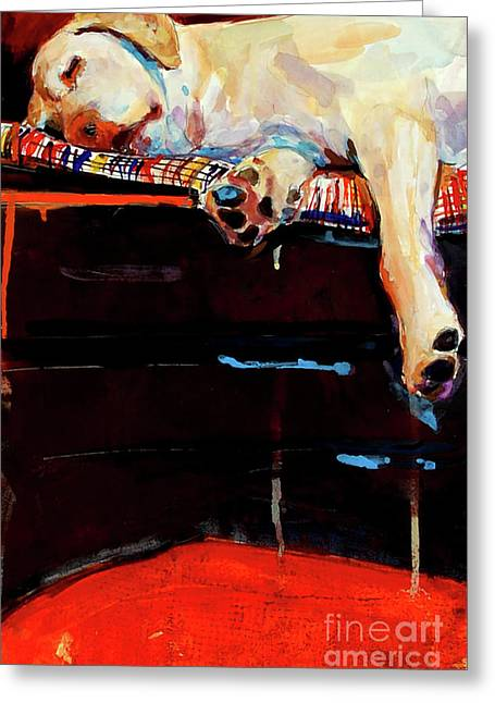 Yellow Dog Paintings Greeting Cards - Sacked Greeting Card by Molly Poole