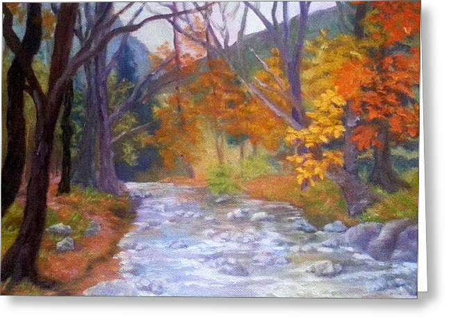 Babbling Paintings Greeting Cards - Saco Creek Greeting Card by Sharon E Allen