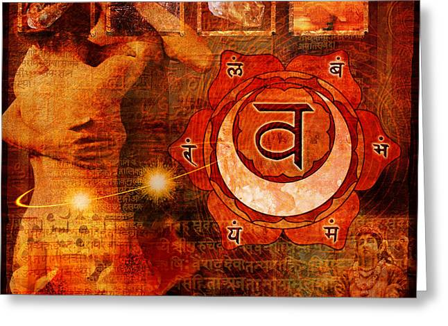 Indigo Chakra Greeting Cards - Sacral Chakra Greeting Card by Mark Preston