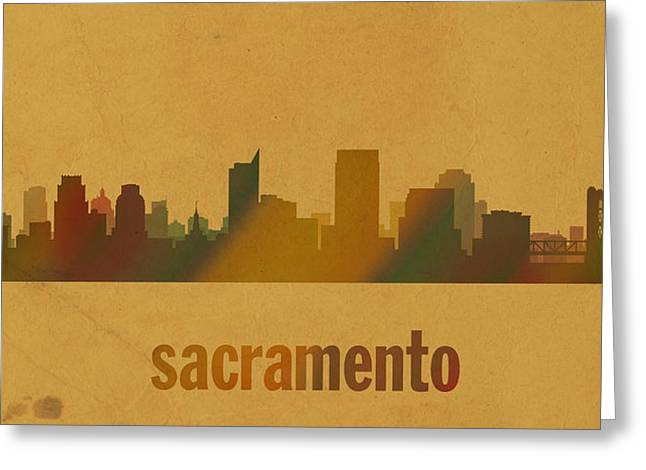 Sacramento Greeting Cards - Sacramento California City Skyline Watercolor On Parchment Greeting Card by Design Turnpike