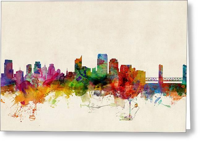 Cityscape Digital Greeting Cards - Sacramento California Skyline Greeting Card by Michael Tompsett