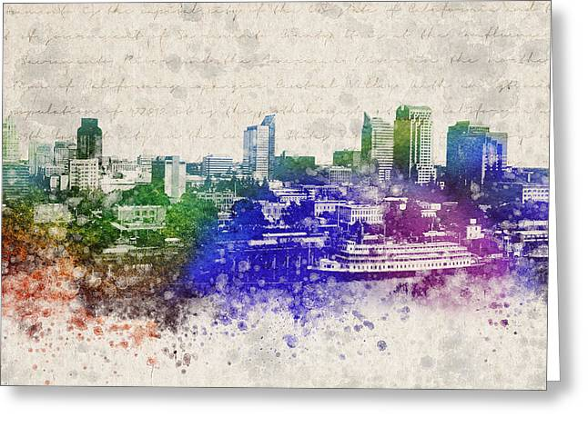 City Buildings Mixed Media Greeting Cards - Sacramento City Skyline Greeting Card by Aged Pixel