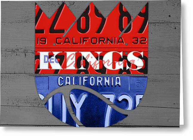 Basketball Team Greeting Cards - Sacramento Kings Basketball Team Retro Logo Vintage Recycled California License Plate Art Greeting Card by Design Turnpike