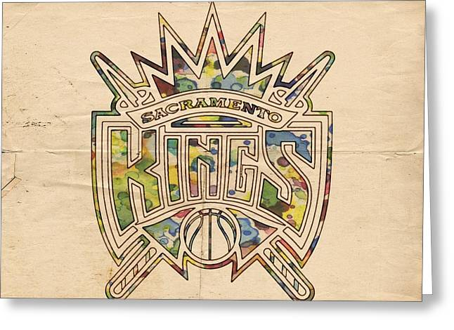 Nba Greeting Cards - Sacramento Kings Poster Art Greeting Card by Florian Rodarte