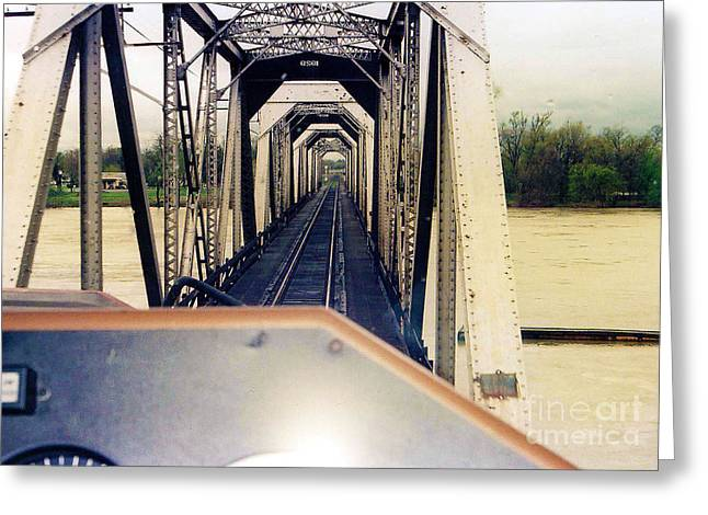 River Flooding Greeting Cards - Bridge Over Sacramento River at Flood Stage Greeting Card by John Cockrell