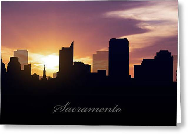 Sacramento Greeting Cards - Sacramento Sunset Greeting Card by Aged Pixel