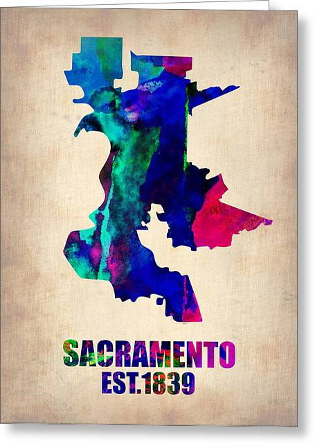California Art Greeting Cards - Sacramento Watercolor Map Greeting Card by Naxart Studio