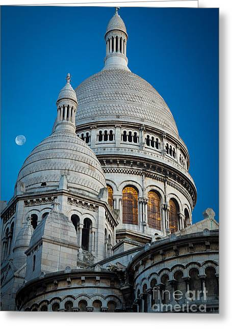 Christianity Greeting Cards - Sacre-Coeur and Moon Greeting Card by Inge Johnsson