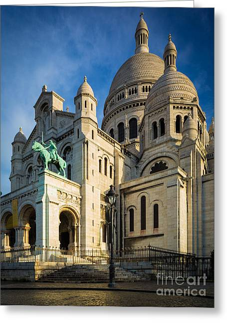 Christianity Greeting Cards - Sacre Coeur at Dawn Greeting Card by Inge Johnsson