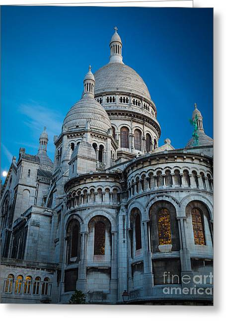 Christianity Greeting Cards - Sacre-Coeur at Night Greeting Card by Inge Johnsson
