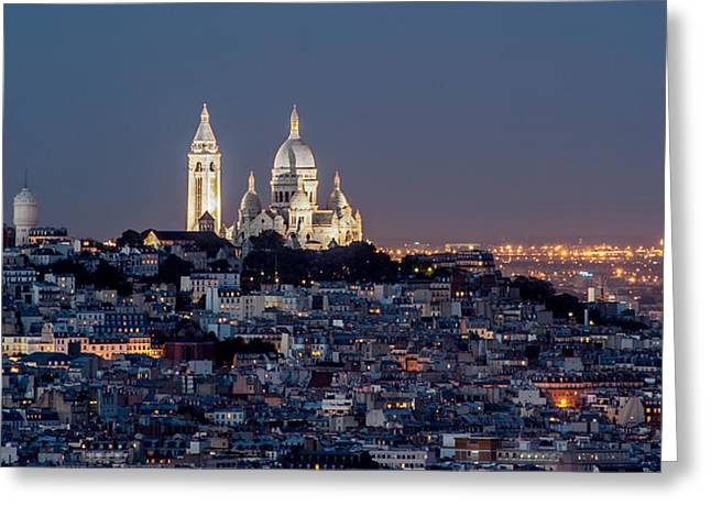 Bute Greeting Cards - Sacre Coeur au sommet de Montmartre Paris Greeting Card by Pierre Leclerc Photography