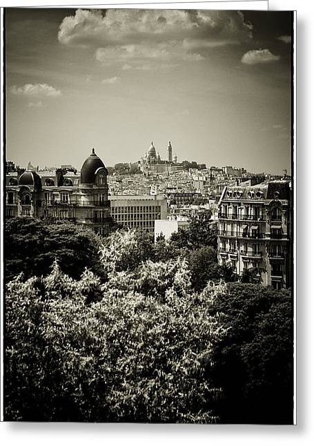 Byzantine Greeting Cards - Sacre Coeur Basilica as seen from Temple de la Sibylle. Greeting Card by Lenny Carter