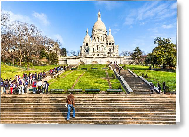 Basillica Greeting Cards - Sacre Coeur - Basilica Overlooking Paris Greeting Card by Mark Tisdale