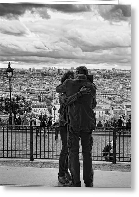 Night Cafe Greeting Cards - Sacre Cour Kiss - Paris Lover Photos Greeting Card by Laria Saunders