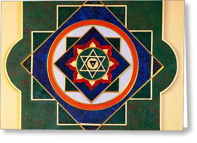 Sacred Sculptures Greeting Cards - NILAPATAKA SACRED 3D HIGH RELIEF ARTISTICALLY CRAFTED WOODEN YANTRA    23in x 23in Greeting Card by Peter Clemens